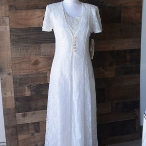 Vintage Dawn Joy Fashions White Lace Dress Size 8